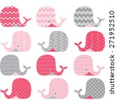 pink and grey cute whale... | Shutterstock .eps vector #271952510
