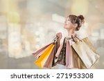 shopping girl of asian  closeup