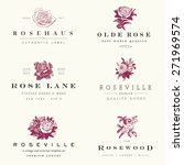 Stock vector vector rose label set 271969574