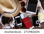 packed suitcase of vacation... | Shutterstock . vector #271982654