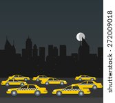 taxi at night. cityscape vector | Shutterstock .eps vector #272009018