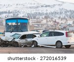 Two Cars And Bus Crashed In...