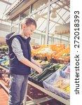 boy holding fresh vegetables...   Shutterstock . vector #272018393