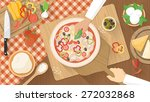 chefs cooking a tasty... | Shutterstock .eps vector #272032868