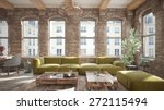Living Room Loft In Rustic...