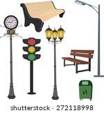 city objects  dustbin  lamppost ... | Shutterstock .eps vector #272118998