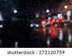 Rain Drops On Window With...
