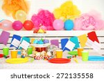 prepared birthday table with... | Shutterstock . vector #272135558