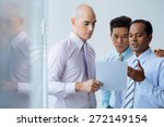 handsome businessman showing... | Shutterstock . vector #272149154