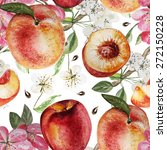 watercolor pattern with peaches ... | Shutterstock .eps vector #272150228