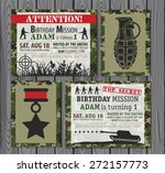 camo army birthday invitation  | Shutterstock .eps vector #272157773