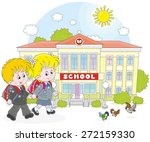 schoolgirl  schoolboy and their ... | Shutterstock .eps vector #272159330