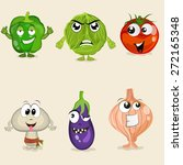 funny cartoons of vegetable... | Shutterstock .eps vector #272165348