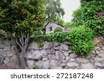 park scene with old stone wall | Shutterstock . vector #272187248
