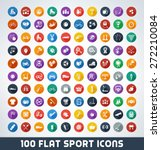 mega sport flat icon set