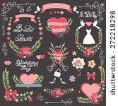 wedding vintage floral bridal...   Shutterstock .eps vector #272218298