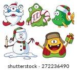 Christmas Cartoon Monsters Set