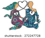 abstract couple of lovers | Shutterstock .eps vector #272247728