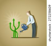 businessman trying to grow up a ... | Shutterstock .eps vector #272258609