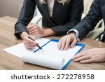 Small photo of Close up hands of working process. Legal contract negotiation. A concept of teamwork.