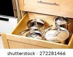 Stock photo organized kitchen drawer 272281466