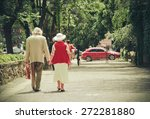 grandparents walking summer day | Shutterstock . vector #272281880