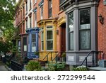 a row of colorful apartments in ... | Shutterstock . vector #272299544