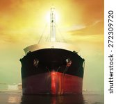 Front View Of Commercial Ship...