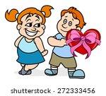 boy presenting heart gift to... | Shutterstock .eps vector #272333456