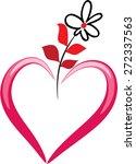 heart shape with flower   Shutterstock .eps vector #272337563