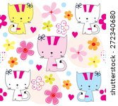 seamless pattern with cats and... | Shutterstock .eps vector #272340680