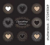 Set Of Sparkling Hearts On A...