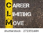 Small photo of Business Acronym CLM as CAREER LIMITING MOVE. Yellow paint line on the road against asphalt background. Conceptual image