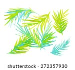 watercolor illustration of palm ... | Shutterstock . vector #272357930