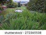 park scene with fountain in... | Shutterstock . vector #272365538