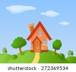 the facade of a small house in... | Shutterstock .eps vector #272369534