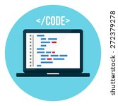 coding on a laptop | Shutterstock .eps vector #272379278