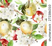 Watercolor Pattern With Apples...