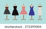 set of 5 retro pinup cute woman ... | Shutterstock .eps vector #272395004