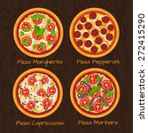 round hot delicious tasty pizza ... | Shutterstock .eps vector #272415290