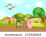Stock vector illustration of landscape turtle and rabbit racing 272430563