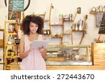 beautiful cafe owner running... | Shutterstock . vector #272443670