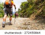 a group of people trekking on... | Shutterstock . vector #272450864