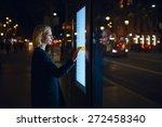 caucasian female using... | Shutterstock . vector #272458340