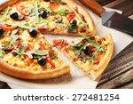 Fresh Tasty Pizza On Brown...