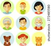 happy family of seven people... | Shutterstock .eps vector #272485580