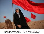 middle eastern girl with flags... | Shutterstock . vector #272489669