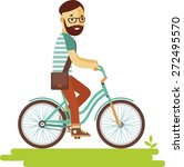 bicyclist rider hipster man... | Shutterstock .eps vector #272495570