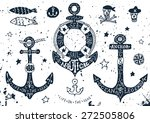 set of hand drawn anchors with...   Shutterstock .eps vector #272505806