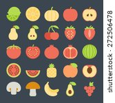 fruit icons in colorful flat... | Shutterstock .eps vector #272506478